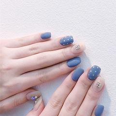 方圆形蓝色裸色钻磨砂波点美甲图片