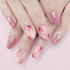 圆形粉色手绘花朵钻新娘春天美甲图片