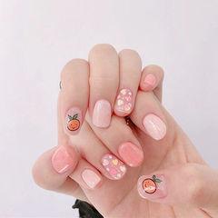 圆形粉色亮片贴纸可爱学生美甲图片