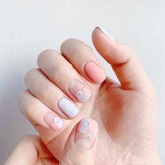 方圆形粉色香芋紫色法式美甲图片
