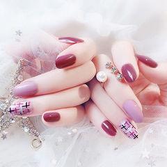 圆形紫色玫红色手绘毛呢跳色美甲图片