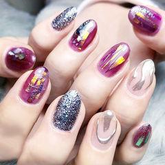 圆形紫色银色手绘碎玻璃美甲图片