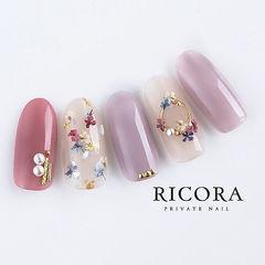 圆形粉色香芋紫色干花珍珠日式春天美甲图片