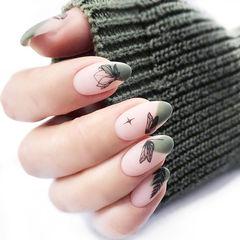 圆形绿色黑色手绘斜法式磨砂美甲图片