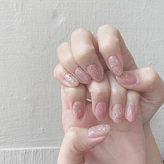 圆形粉色银箔干花金属饰品花朵日式简约上班族美甲图片