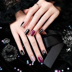 圆形黑色紫色银色跳色美甲图片