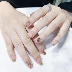 方圆形金色钻法式美甲图片