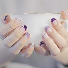 方圆形紫色金银线法式简约美甲图片
