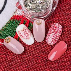 圆形红色粉色手绘毛呢心形珍珠新娘研习社美甲帮研习社作品,想学加微信mjbyxs3美甲图片