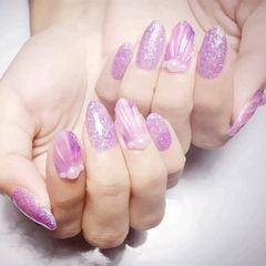 圆形粉色紫色贝壳珍珠研习社美甲帮研习社0基础学员作品,想学加微信mjbyxs6美甲图片