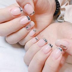 方圆形裸色钻法式美甲图片