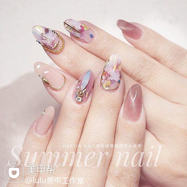 圆形粉色猫眼晕染钻日式分享ins美图美甲图片