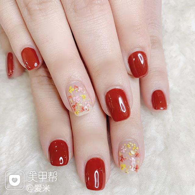 方圆形红色干花新娘美甲图片