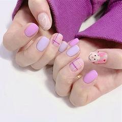 方圆形粉色紫色手绘可爱卡通格子磨砂跳色美甲图片
