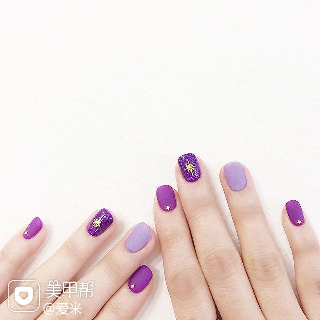 方圆形紫色磨砂金属饰品美甲图片