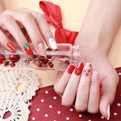 圆形红色白色手绘水果草莓波点美甲图片