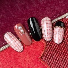 圆形粉色黑色手绘毛呢珍珠研习社美甲帮研习社作品,想学加微信mjbyxs3美甲图片