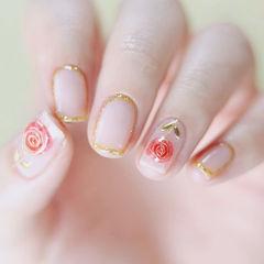 方圆形红色金色手绘花朵金属饰品包边新娘美甲图片