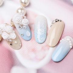 圆形蓝色裸色雕花钻珍珠研习社美甲帮研习社作品,想学加微信mjbyxs6美甲图片