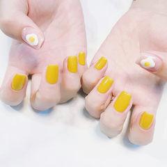 方圆形黄色白色手绘可爱鸡蛋陈乔恩同款美甲图片