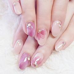 圆形粉色裸色手绘花朵钻日式美甲图片