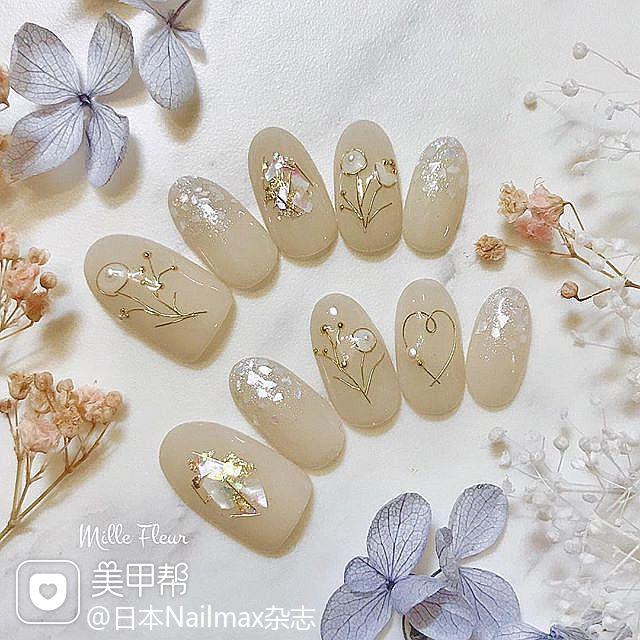 圆形裸色贝壳片金箔金属饰品日式上班族简约美甲图片