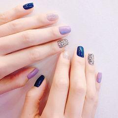 方圆形蓝色紫色银色手绘毛呢跳色美甲图片