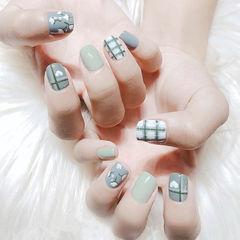 方圆形灰色绿色手绘格纹心形美甲图片