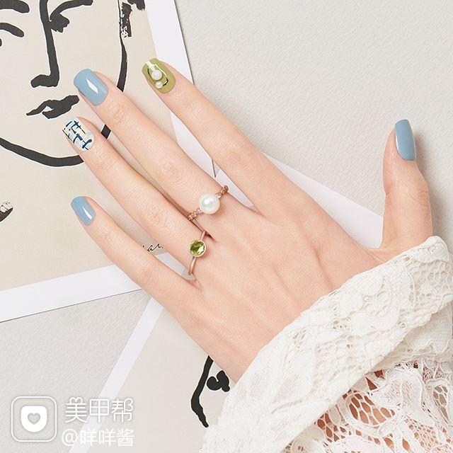 方圆形蓝色绿色手绘毛呢珍珠跳色春天美甲图片