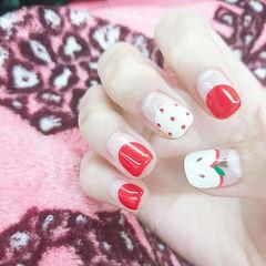方圆形红色白色手绘可爱圆法式水果波点学生美甲图片