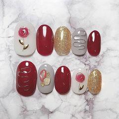 圆形红色金色金属饰品花朵贝壳片新娘美甲图片