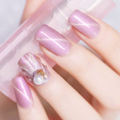 方圆形粉色猫眼贝壳珍珠ins美图分享,想学美甲咨询微信mjbyxs6哦~美甲图片