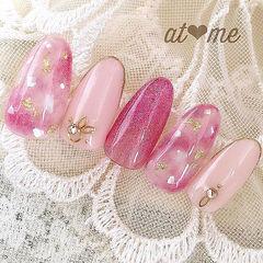 圆形粉色晕染贝壳片金箔金属饰品日式美甲图片
