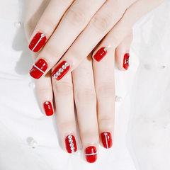方圆形红色钻线条新娘显白美甲图片