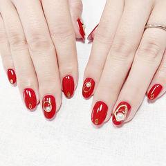 圆形红色珍珠显白新娘美甲图片