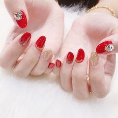 圆形红色金色钻新娘美甲图片