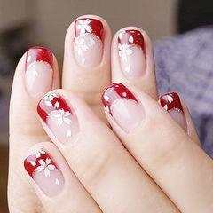 方圆形红色白色手绘花朵法式新娘ins美图分享,想学美甲咨询微信mjbyxs6哦~美甲图片