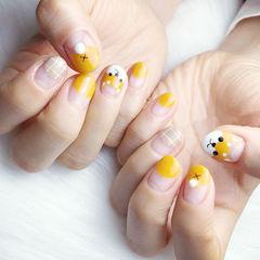 圆形黄色裸色手绘小狗可爱圆法式美甲图片