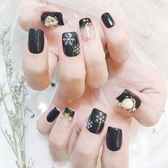 方圆形黑色法式饰品美甲图片