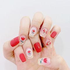 方圆形红色手绘花朵干花磨砂美甲图片