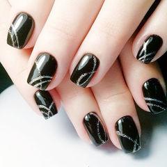方圆形黑色银色手绘线条美甲图片