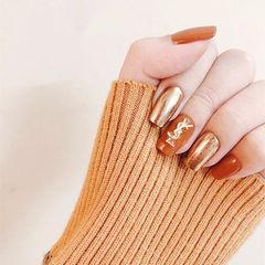 方圆形焦糖色金色镜面金属饰品跳色美甲图片