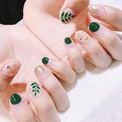 圆形绿色金色手绘树叶圆法式金属饰品美甲图片