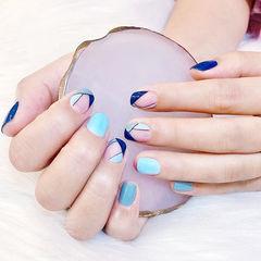 方圆形蓝色法式ins美图分享,想学美甲咨询微信mjbyxs6哦~美甲图片
