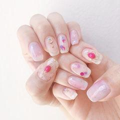 方圆形粉色玫红色裸色晕染金属饰品美甲图片