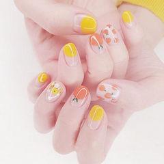 圆形黄色橙色手绘水果圆法式亮片美甲图片