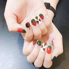 圆形红色白色绿色手绘水果西瓜圆法式美甲图片
