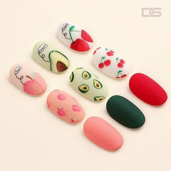 圆形红色绿色手绘水果樱桃磨砂美甲图片