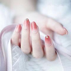 圆形粉色钻简约上班族ins美图分享,想学美甲咨询微信mjbyxs6哦~美甲图片