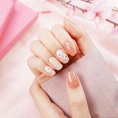 方圆形粉色裸色手绘花朵春天美甲图片